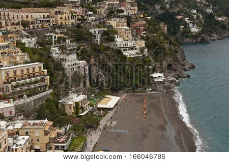 view of the town of Positano on the Amalfi coast
