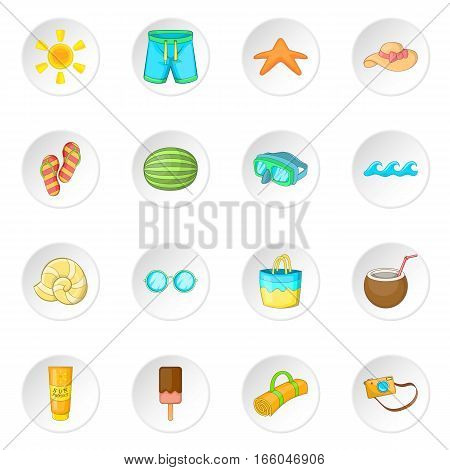 Summer items icons set. Cartoon illustration of 16 summer items vector icons for web