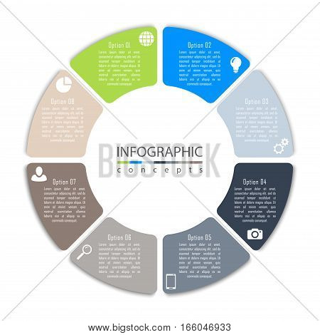 Vector round infographic diagram with 8 options. Circular timeline infographic, chart, diagram can be used for web design, presentation, advertising, report