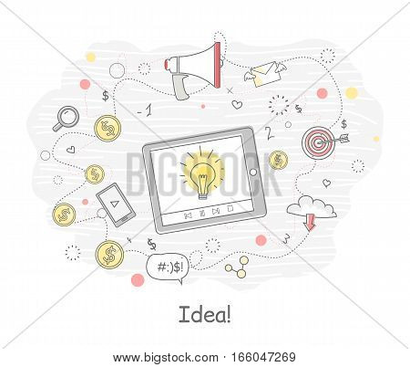 Idea generation banner in flat. Tablet computer with social media elements. Problem solving, strategy solution, analysis innovation, research, brainstorm, good solution, inspiration illustration.