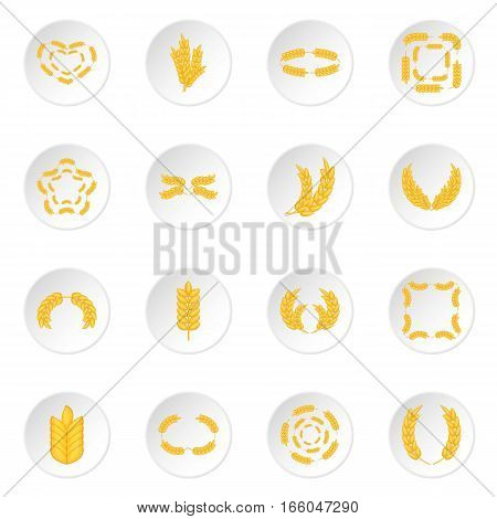 Ear corn icons set. Cartoon illustration of 16 ear corn vector icons for web