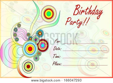 colorful birthday party invitation for kids with empty lines for text