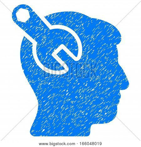 Head Neurology Wrench grainy textured icon for overlay watermark stamps. Flat symbol with unclean texture. Dotted vector blue ink rubber seal stamp with grunge design on a white background.