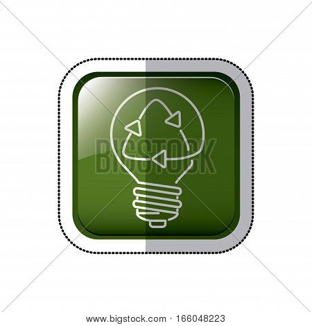 square button sticker with light bulb and recyled sign vector illustration
