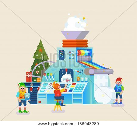Vector elves factory. A Toy Making in Santa's Workshop. Machine process with children wish list.