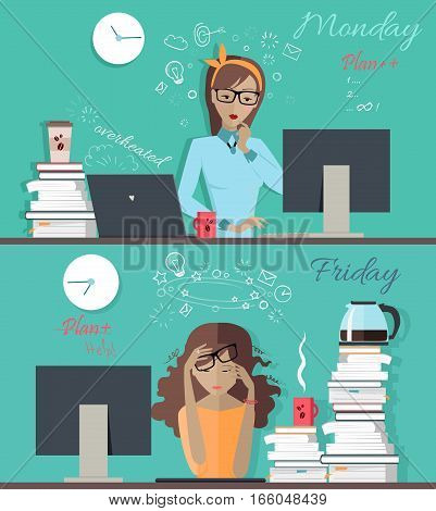 Woman fresh and ready to work at Monday morning and thick and tired at Friday evening banner. Girl at the beginning and at the end of the week. Part of series of daily routine of the week. Vector.