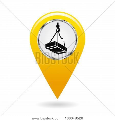 Map pointer. Safety symbol. Caution may drop shipping. Location and specify the coordinates on the map terrain. Industrial Design. Yellow object on a white background. Vector illustration.