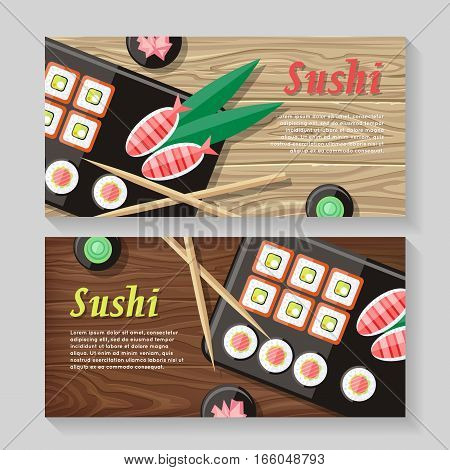 Japanese food illustration web banner. Japan sushi with wasabi and ginger. Restaurant asian food, rice and seafood, fish sushi, asia dinner, fresh sushi and chopstick, oriental lunch logo. Vector