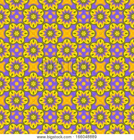 Abstract colorful purple and yellow floral pattern.  Multicolor summer texture background. Seamless illustration.