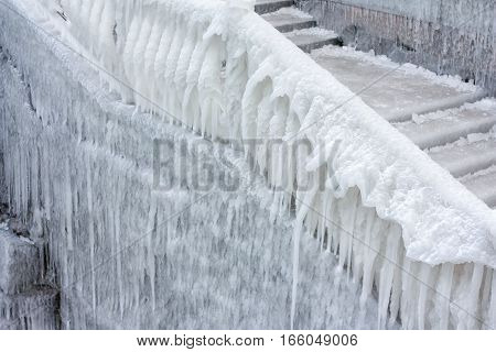 Stairs Covered With Ice