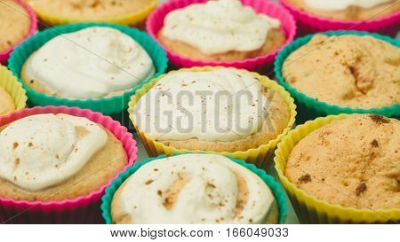 Cupcakes home on a white background closeup
