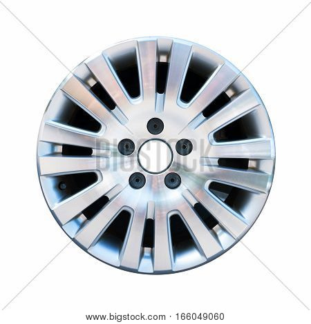 Car aluminum wheel rim isolated on white background