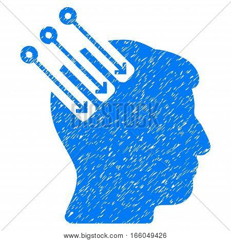Neuro Interface grainy textured icon for overlay watermark stamps. Flat symbol with scratched texture. Dotted vector blue ink rubber seal stamp with grunge design on a white background.