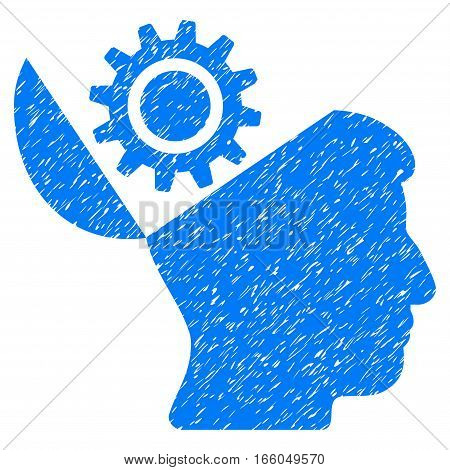 Open Head Gear grainy textured icon for overlay watermark stamps. Flat symbol with unclean texture. Dotted vector blue ink rubber seal stamp with grunge design on a white background.