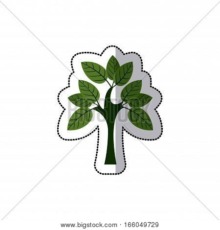 dotted sticker tree with multiple leafy branches vector illustration