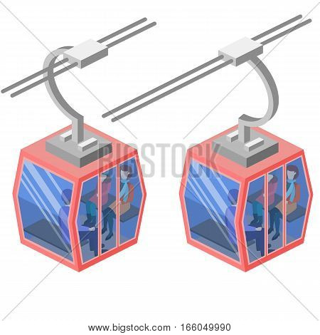 Isometric Flat 3D Concept Vector Cableway In The Mountains.