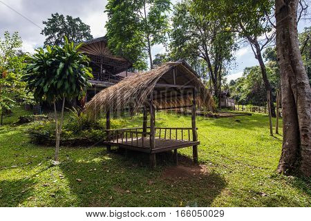 Nature wooden houses huts in a Asia vietnam.