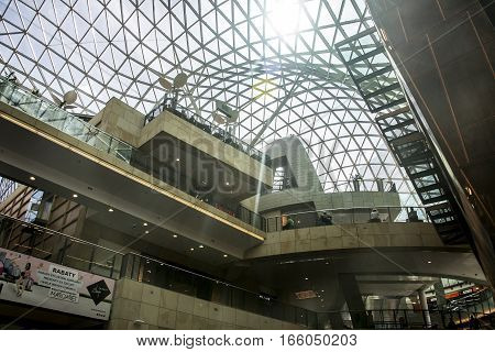 Poland - Warsaw - 08.05.2015 - Warsaw Poland the Shopping mall a modern construction roof inside shape structure