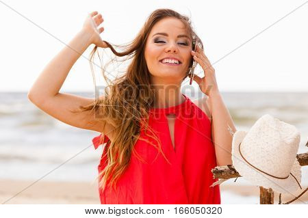 Smiling Woman With Mobile Phone.