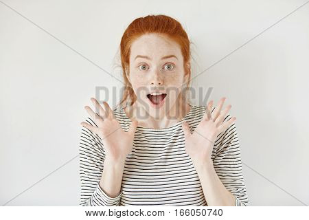 People, Happiness And Success Concept. Beautiful Redhead Student Girl Screaming With Amazement And J