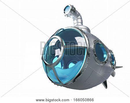cartoon metallic submarine isolated on white. 3d illustration