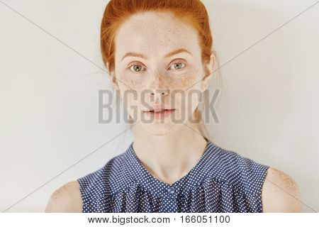 Youth And Tenderness. Close Up Portrait Of Teenage Girl With Ginger Hair And Healthy Skin With Freck