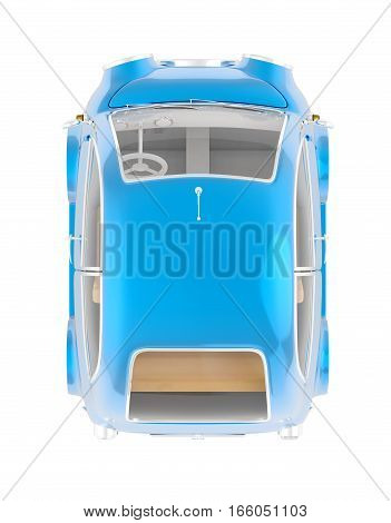 Round Small Car Blue Top