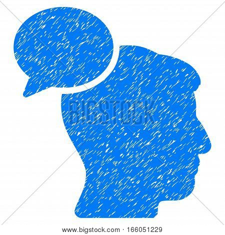 Person Idea grainy textured icon for overlay watermark stamps. Flat symbol with unclean texture. Dotted vector blue ink rubber seal stamp with grunge design on a white background.
