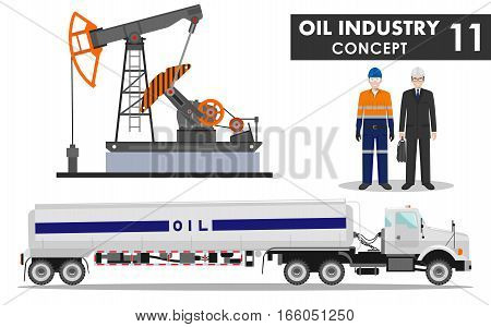 Detailed illustration of businessman, engineer, gasoline truck, oil pump and workman in flat style on white background.