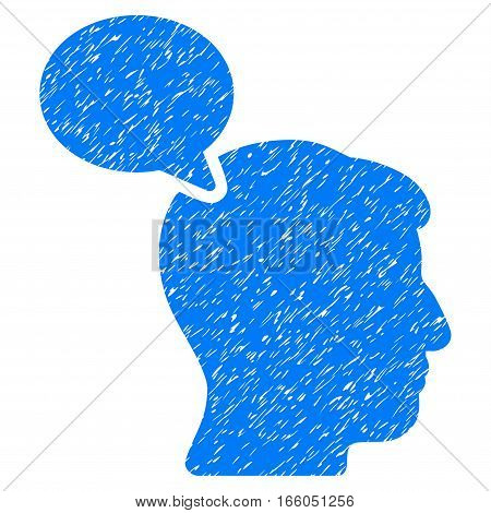 Person Opinion grainy textured icon for overlay watermark stamps. Flat symbol with dirty texture. Dotted vector blue ink rubber seal stamp with grunge design on a white background.