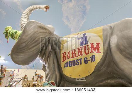Orrtanna PA USA - January 19 2017 : Vintage Barnum Bailey Circus advertisement on elephant inside shop.