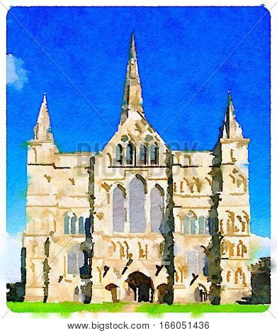 Digital watercolor painting of Salisbury Cathedral which has the tallest church spire in the UK photographed on a sunny day.