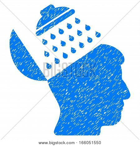 Propaganda Brain wash grainy textured icon for overlay watermark stamps. Flat symbol with dirty texture. Dotted vector blue ink rubber seal stamp with grunge design on a white background.