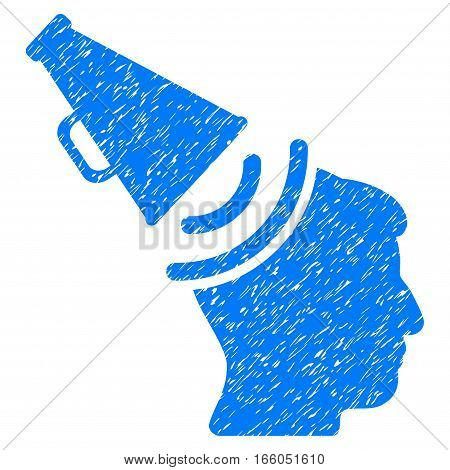 Propaganda Megaphone grainy textured icon for overlay watermark stamps. Flat symbol with scratched texture. Dotted vector blue ink rubber seal stamp with grunge design on a white background.