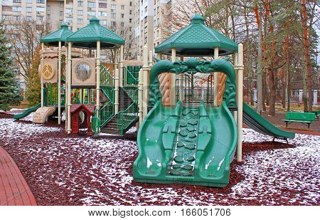 Colorful Playground on the winter cold day