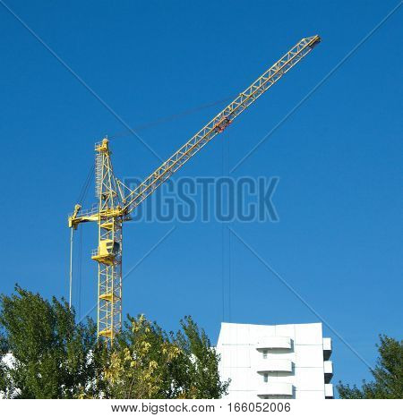 Construction of white color building in environmental place
