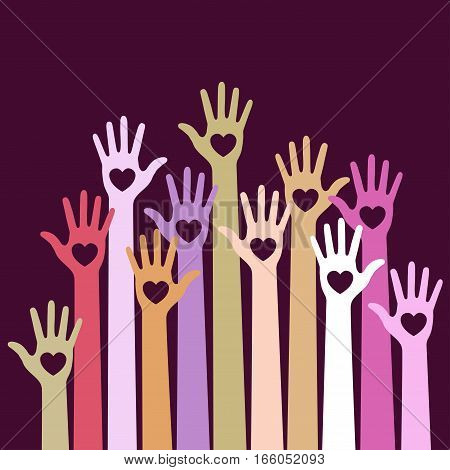 Bright colorful pastel  caring up hands hearts vector logo design element on dark violet background. Volunteers hands up with heart emblem icon for education, health care, medical, volunteer, vote.