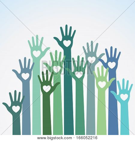 Green blue colorful caring up hands hearts vector logo design element. Volunteers hands up with heart emblem icon for education, health care, medical, volunteer, vote.