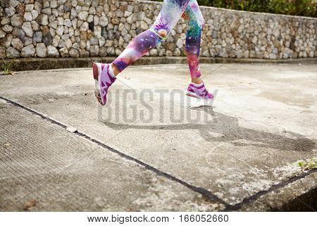 People, Sports, Fitness And Health Concept. Cropped Portrait Of Woman Athlete Wearing Stylish Leggin