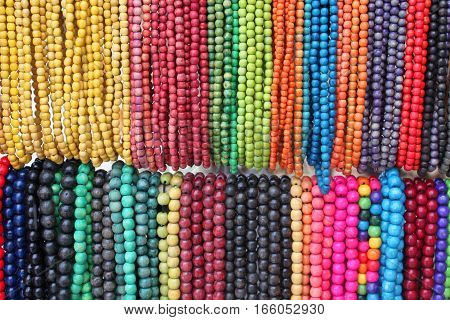 Colored beads in two rows (close up)