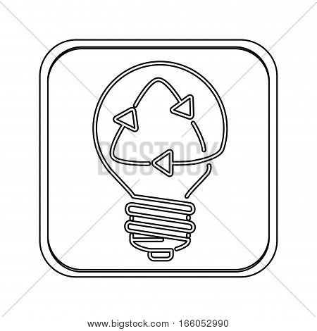 silhouette square button sticker with light bulb and recyled sign vector illustration