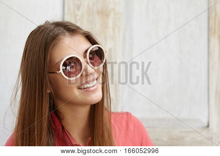 People And Lifestyle Concept. Portrait Of Beautiful Elegant Young Lady With Clean Skin And Charming