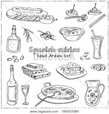 Vector hand drawn set of spanish cuisine. soup, liver in garlic Paella, meal with rice and seafood, fried cookie churros. Vintage illustration for design menus, recipes and packages product.