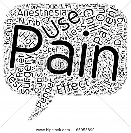 Hot Chili Peppers to Tame Surgical Pain text background wordcloud concept poster
