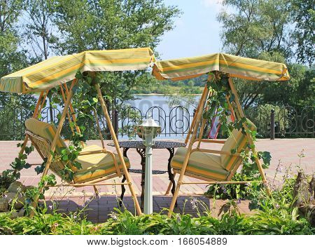 Cafe's seats near the river Dniepro, Kyiv, Ukraine