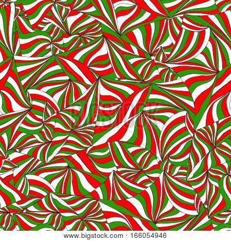 Abstract Italian flag Mexico flag. Abstract colorful graphic seamless pattern. Hand-drawn ornament of doodle waves and lines. Background in the style op art optical illusion. For wallpaper textiles