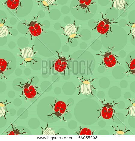 Ladybug beetles in peas and striped beetles seamless pattern insects vector background. For fabric design wallpaper wrapping print paper decoration