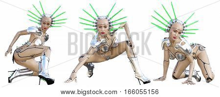 Set Cyborg robot woman futuristic metallic bikini. Extravagant fashion art. Girl standing candid provocative pose. Photorealistic 3D rendering isolate illustration. Studio photography.
