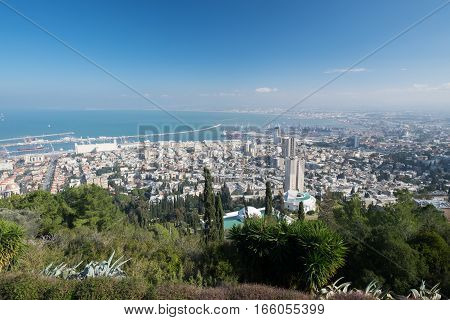 The view of Haifa city and aarbour from the Carmel