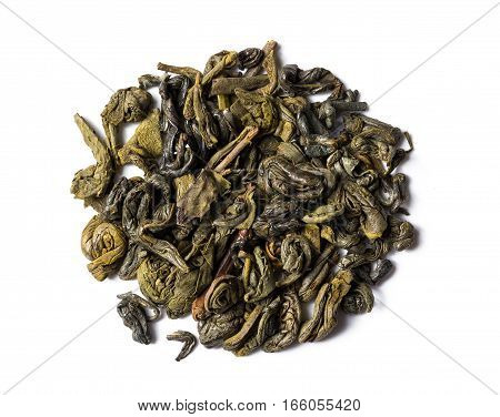 Heap of green tea chinese gunpowder isolated on white background view from above.